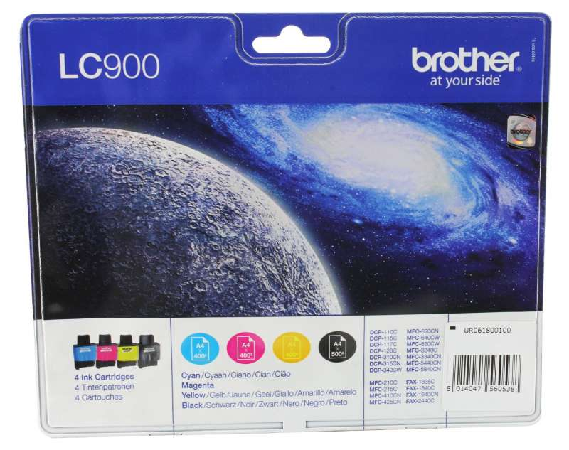 Консуматив, Brother LC-900 , 4Ink Cartridge for FAX-1835/40/1940/2440, MFC-3240/3340/5440/5840, DCP-110/115/120/310/315/340, MFC-210/215/410/425/620/640/820